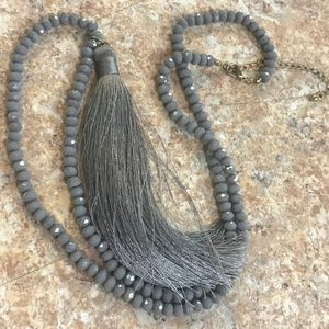 Jewelry - Gray Beaded Tassel Necklace Statement Necklace